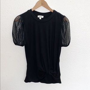 Meraki Black Lace Puff Short Sleeve Top